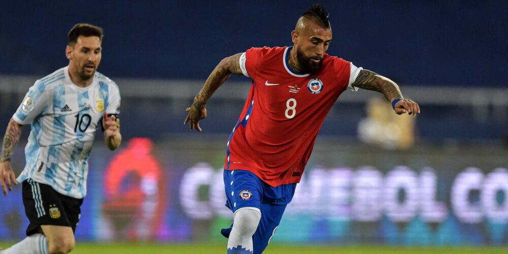 Futbol, Argentina vs Chile. Copa America Brasil 2021. El jugador de la seleccion chilena Arturo Vidal es fotografiado du
